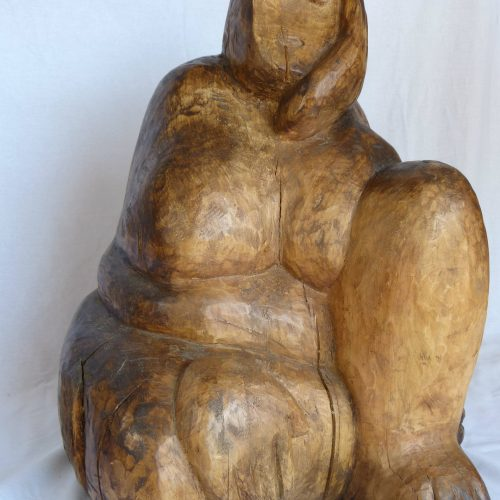 Adriana - Sculpture contemporaine en bois de type ronde bosse en tilleul.